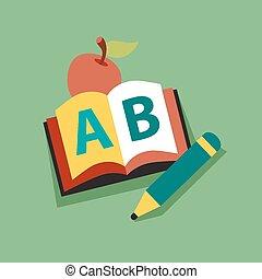 maçã, personagem, livro, sorrindo, leitura, professor