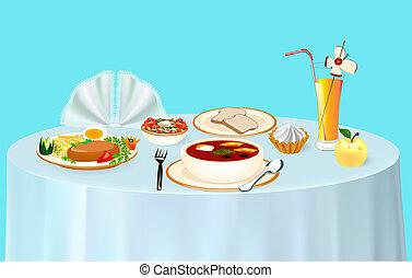maçã, sopa, sobremesa, ilustração, suco, almoço, tabela, galinha