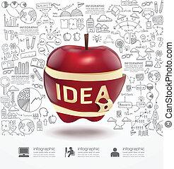 maçã, sucesso, estratégia, infographic, plano, doodles, linha, ide, desenho