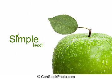 maçã verde, com, folha, e, gotas água, isolado, branco