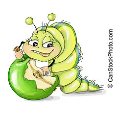 maçã verde, ilustrações, fundo, wnite, lagarta, vetorial
