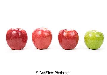 maçã verde, vermelho