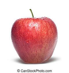 maçã vermelha, com, gotas água, isolado, branco