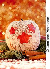 maçã vermelha, com, um, natal, estrela