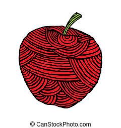 maçã, vermelho, etiqueta