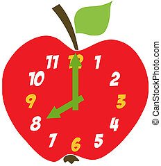 maçã, vermelho, relógio