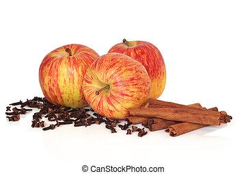 maçãs, canela, e, cravinhos