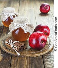maçãs, canela, e, mel