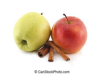 maçãs, canela