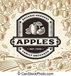 maçãs, colheita, retro, paisagem, etiqueta