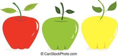 maçãs, coloridos