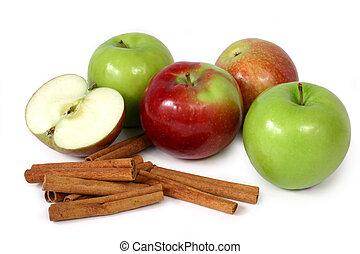 maçãs, e, canela, (2)