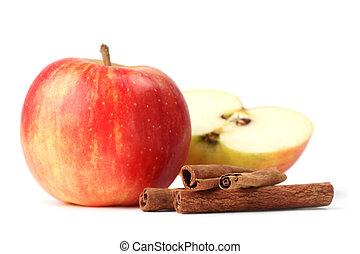 maçãs, e, canela