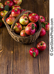 maçãs, em, a, cesta, de, a, vista superior