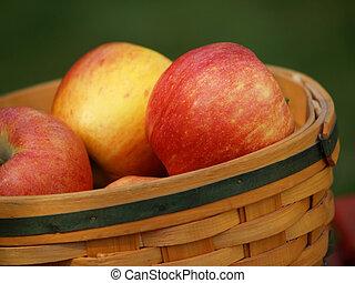 maçãs, em, cesta