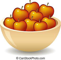 maçãs, em, tigela