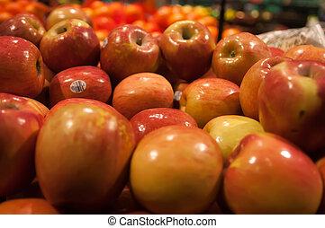 maçãs, exposição, mercado, agricultores