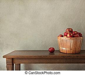 maçãs frescas, ligado, tabela madeira