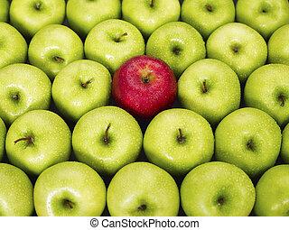 maçãs verdes, vermelho