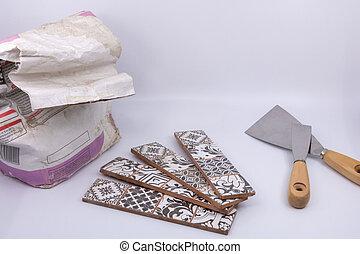 maçon, carreleur, matériel, -, isolé, objets, fond, carreleur, maçon, maçonnerie, carrelage, blanc