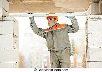maçon, constructeur, maçon, ouvrier, niveau