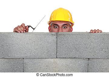 maçon, mur, sur, regarder