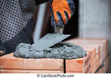 maçon, ouvrier construction, maçon