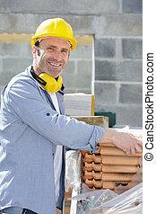 maçonnerie, ouvrier construction, site, heureux