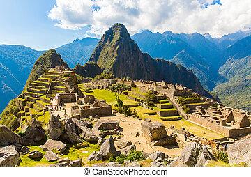 maçonnerie, -, polygonal, ville, mystérieux, machu, pérou, picchu, compétence, america., sud, exemple, incan, ruins.