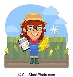 maíz, agronomist, caricatura