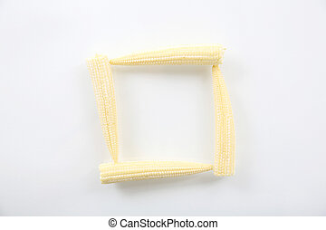 maíz bebé, isolted, en, fondo blanco