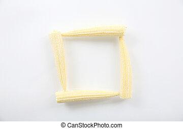 maíz bebé, isolted, fondo blanco