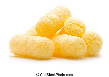 maíz, crujiente, plano de fondo, bocados, blanco