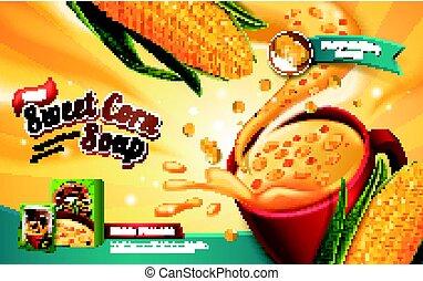 maíz dulce, anuncio, sopa