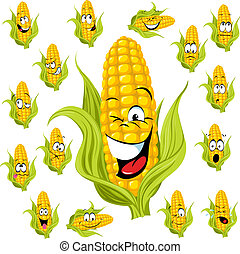 maíz, dulce, caricatura