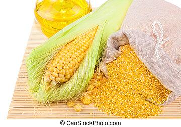 maíz, maíz, harina, aceite de maíz, composición