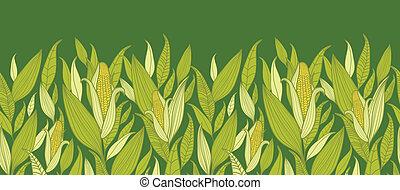 maíz, plantas, horizontal, seamless, patrón, plano de fondo,...