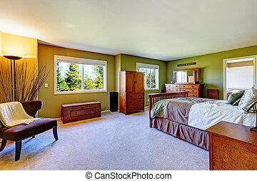 vert murs ma tre chambre coucher plancher sombre photo de stock rechercher images. Black Bedroom Furniture Sets. Home Design Ideas