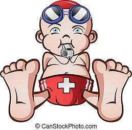 maître nageur, bébé, caractère, dessin animé