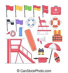maître nageur, plat, ensemble, icônes, équipement, vecteur