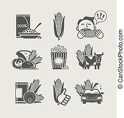 maïs, ensemble, produits, icône