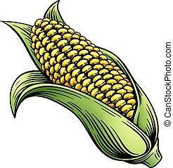 maïs, graver, woodcut, maïs sucré, illustration, oreille