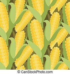 maïs, illustration., modèle, maïs, seamless, vecteur, cob., oreille, ou