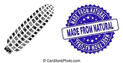 maïs, oreille, gratté, icône, timbre, collage, naturel, fait