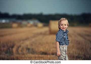 maïs, poser, champ, portrait, enfant, gai