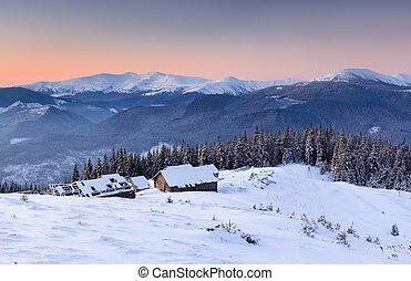 mañana, en, montañas