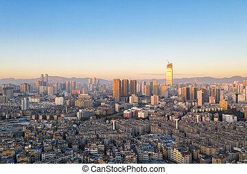 mañana, kunming, cityscape, temprano