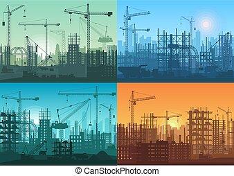 mañana, salida del sol, ocaso, y, día, edificio, construcciones, plano de fondo, set., vector, edificio industrial, proceso, debajo, construction.