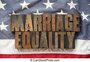 małżeństwo, bandera, stary, równość, usa