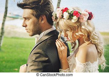 małżeństwo, para, closeup, portret